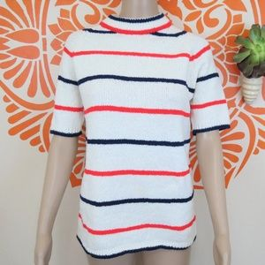 Vintage 60's Fitted Striped Sweater Top M